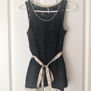 Tops - Black Lace and Champagne Tank Top